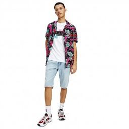 Chemisette Tommy Jeans Miami Camp Shirt noire, rose et vert