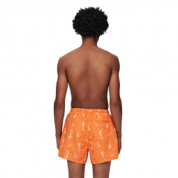 Short de bain imprimé orange
