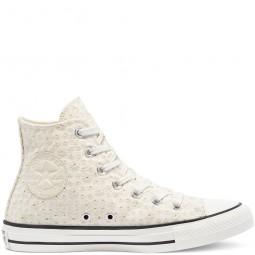Converse toile montante brodées blanches