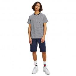 T-shirt Tommy Jeans à rayures blanc et bleu