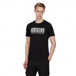 T-shirt col rond Armani Exchange code barre noir