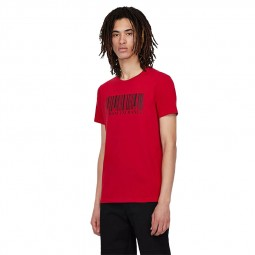 T-shirt col rond Armani Exchange code barre rouge