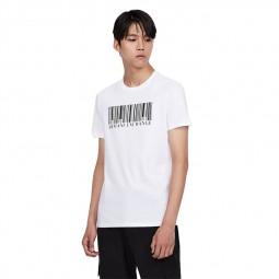 T-shirt col rond Armani Exchange code barre blanc