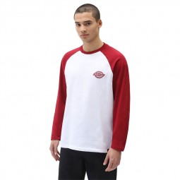 T-shirt Dickies Cologne blanc manches rouges