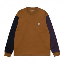 T-shirt manches longues Carhartt L/S Triple Pocket camel/noir/violet