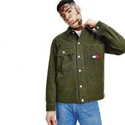 Veste Trucker boxy à badge Tommy Jeans kaki