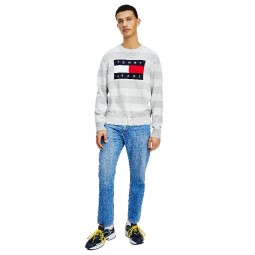 Pull Tommy Jeans gris chiné rayé