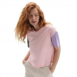 T-Shirt femme Vans Relaxed Boxy Colorblock rose pale