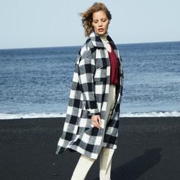 Manteau Grace & Mila Dereck carreaux noir blanc