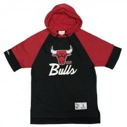 Sweat capuche manches courtes Bulls Mitchell & Ness noir rouge