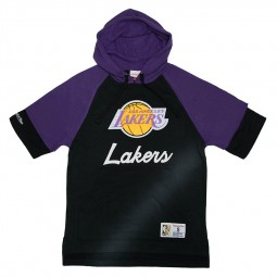 Sweat capuche manches courtes Lakers Mitchell & Ness noir violet
