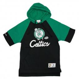 Sweat capuche manches courtes Celtics Mitchell & Ness noir vert
