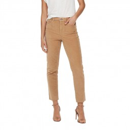Pantalon velours Only taille haute beige foncé