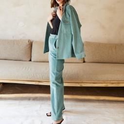 Pantalon velours Grace & Mila Dante vert d'eau