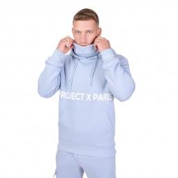 Sweat col roulé à capuche Project X Paris bleu ciel