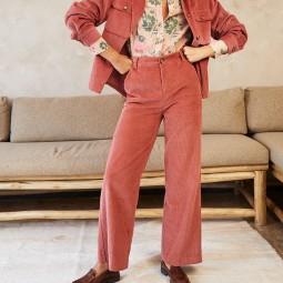Pantalon velours Grace & Mila Dante rose