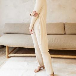 Pantalon maille Grace & Mila Dafina beige