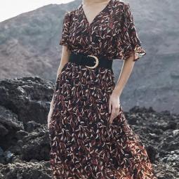 Robe longue Grace & Mila Delphine noir motifs