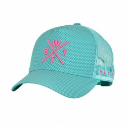 Casquette WATTS Tribe turquoise logo rose