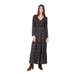 Robe longue col V Molly Bracken noire