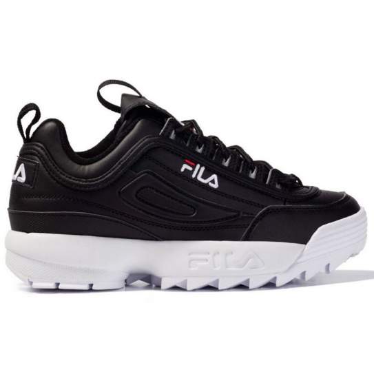 chaussures fila mixte homme femme disruptor low black white noir. Black Bedroom Furniture Sets. Home Design Ideas