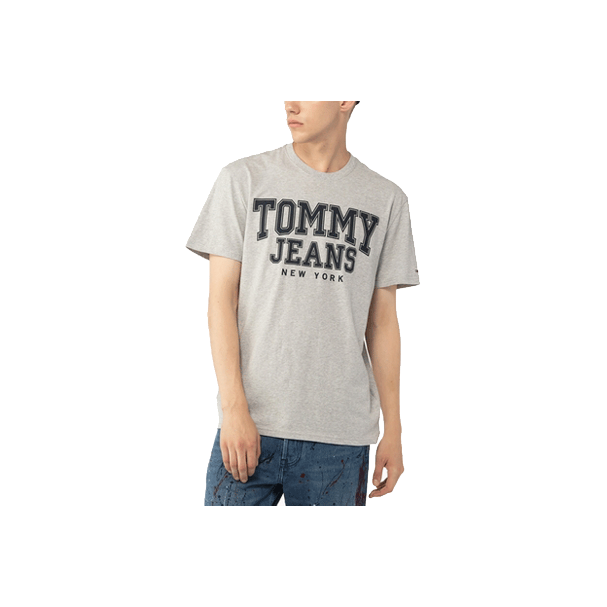 ff6bfa5e35ecb TShirt Col Rond Homme Tommy Hilfiger College New York Gris DM0DM05113